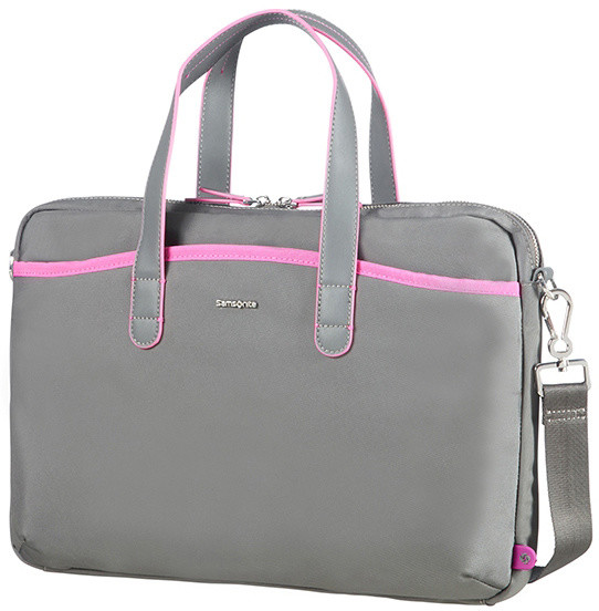 "Samsonite Nefti BAILHANDLE 15.6"" Rock Grey/Fuchsia"
