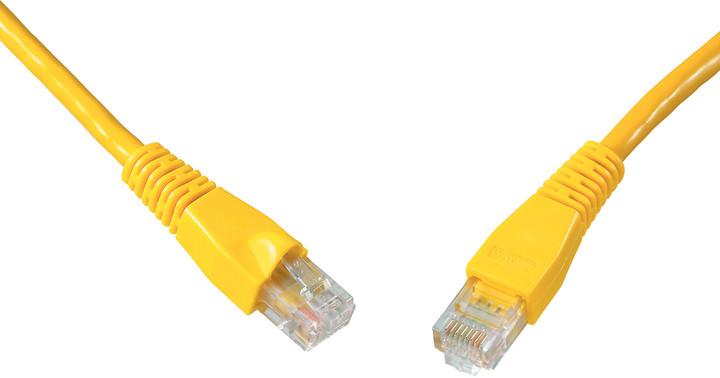 Solarix Patch kabel CAT5E UTP PVC 1m žlutý snag-proof