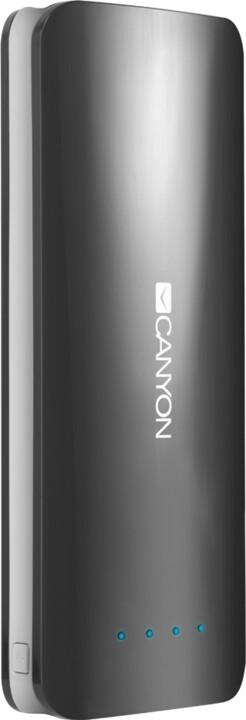 Canyon powerbanka 15600 mAh, micro USB input 5V/2A, USB output 5V/2,4A (max.), tmavě šedá