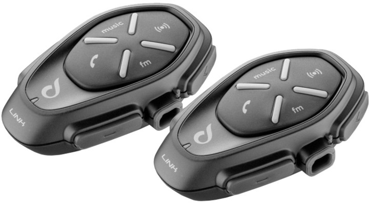 CellularLine Interphone LINK Bluetooth handsfree pro uzavřené a otevřené přilby, Twin Pack