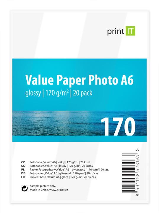 PRINT IT Value Paper Photo A6 170 g/m2 Glossy 20ks