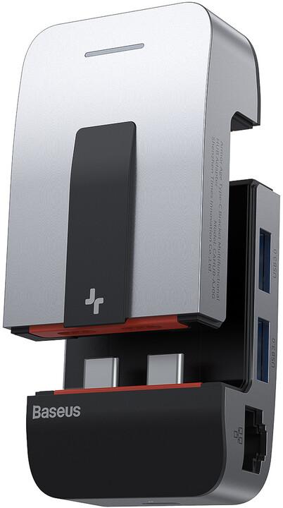 BASEUS hub Armor Age USB-C - 3xUSB 3.0, 3xUSB-C, HDMI, RJ45, 3.5mm Jack, 4K@60Hz, šedá
