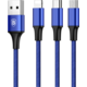 Baseus kabel Rapid Series 3-in-1 Micro + Lightning + Type-C 3A 1.2M, tmavě modrá