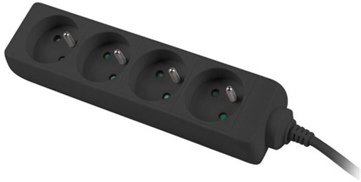 PremiumCord prodlužovací přívod 230V 3m 4 zásuvky, černá