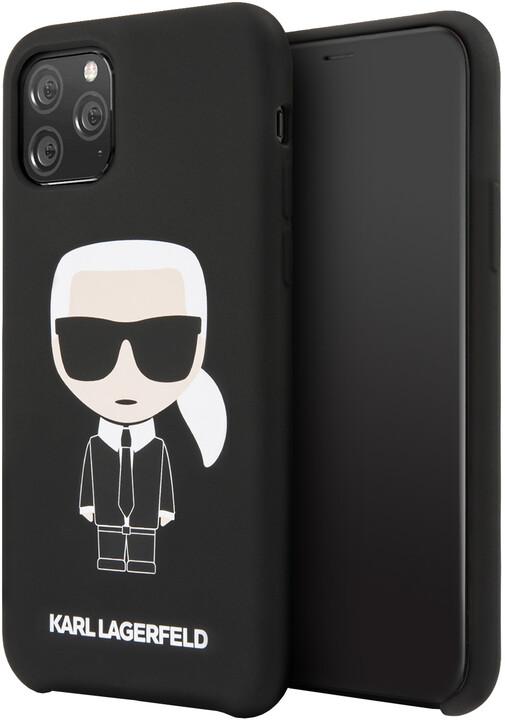 KARL LAGERFELD Iconic silikonvý kryt pro iPhone 11 Pro, černá