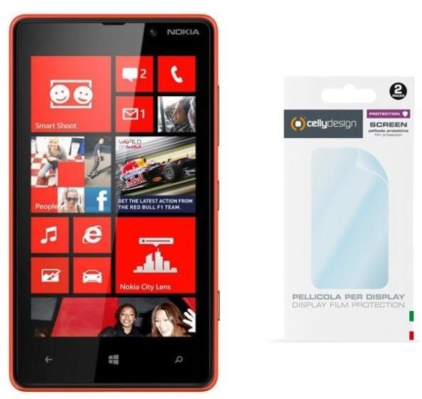CELLY pro displej Nokia Lumia 820, 2ks, lesklá