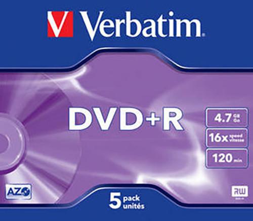 Verbatim DVD+R 16x 4,7GB jewel 5ks