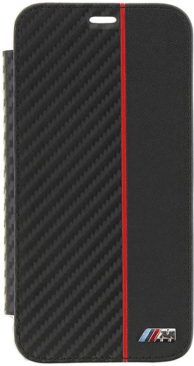 BMW Carbon pouzdro typu kniha Transparent/Black pro iPhone X