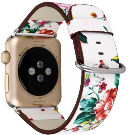 ESES kožený květinový řemínek 42/44mm pro apple watch, bílá/červená