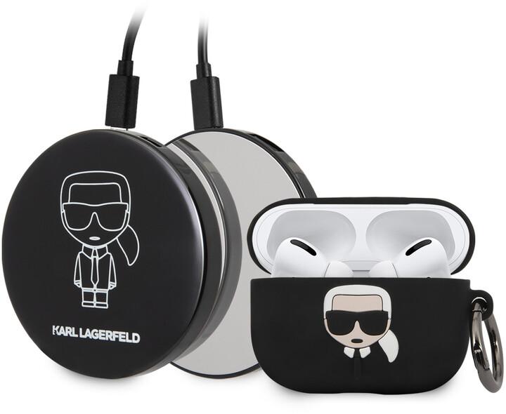 Karl Lagerfeld silikonový kryt Iconic Bundle pro Apple Airpods Pro, černá + Powerbanka
