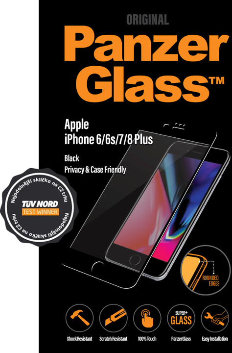 PanzerGlass Edge-to-Edge Privacy pro Apple iPhone 6/6s/7/8 Plus, černé