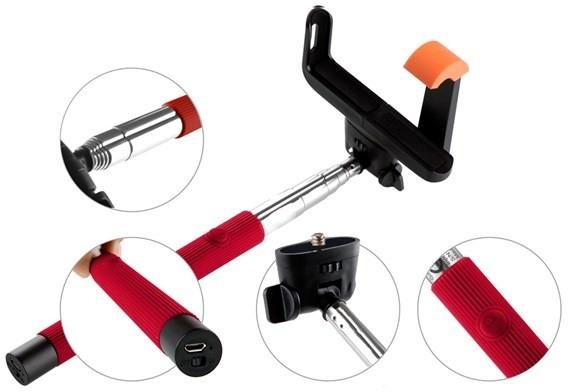 GoGEN 2 Selfie tyč teleskopická, bluetooth, červená