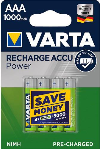 VARTA nabíjecí baterie Power AAA 1000 mAh, 4ks