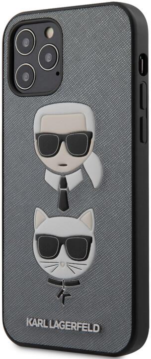 """KARL LAGERFELD ochranný kryt Saffiano K&C Heads pro iPhone 12/ 12 Pro (6.1""""), stříbrná"""