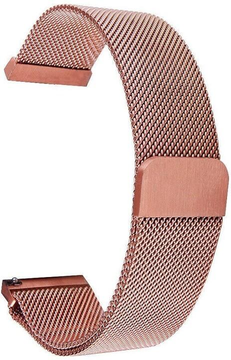 Tactical 634 magnetický kovový řemínek Loop pro Samsung/Amazfit/Garmin, růžová/zlatá