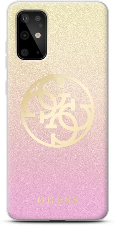 GUESS 4G Glitter Circle kryt pro Samsung Galaxy S20 Ultra, zlatá růžová