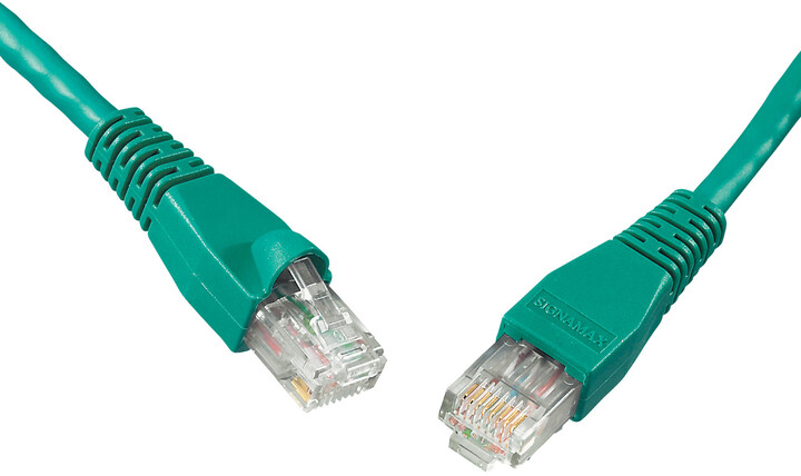 Solarix Patch kabel CAT5E UTP PVC 0,5m zelený snag-proof