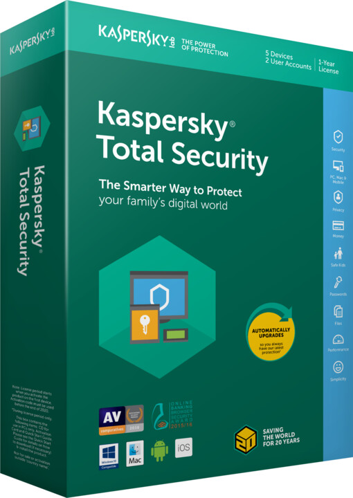Kaspersky Total Security multi-device 2018 CZ pro 3 zařízení na 12 měsíců, obnovení licence