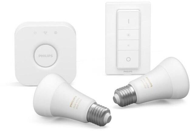 Philips žárovka Hue E27, LED, 9W, 16 mil. barev, 2ks + bridge + switch - 2. generace s BT