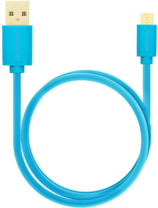 AXAGON BUMM-AM15QL, HQ Kabel Micro USB - USB A, datový a nabíjecí 2A, modrý, 1.5 m