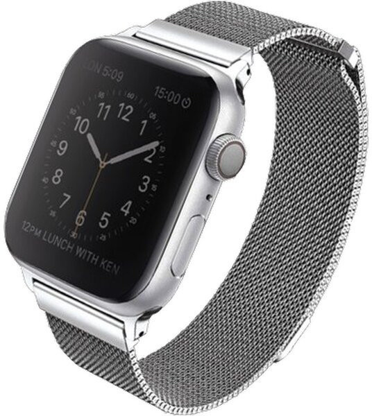 UNIQ řemínek Dante Apple Watch Series 4 Mesh Steel 40mm, stříbrná