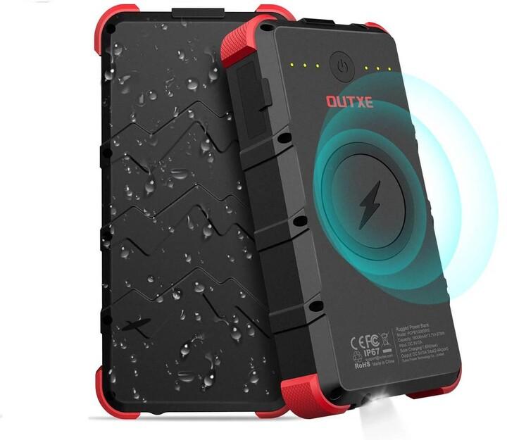 OUTXE odolná IP67 bezdrátová powerbanka 20000mAh, černá/červená