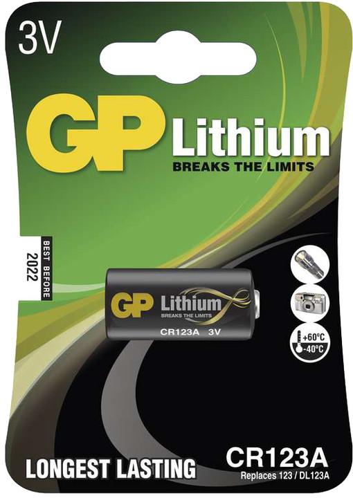 GP, lithium, CR123A, 1500mAh, 1ks