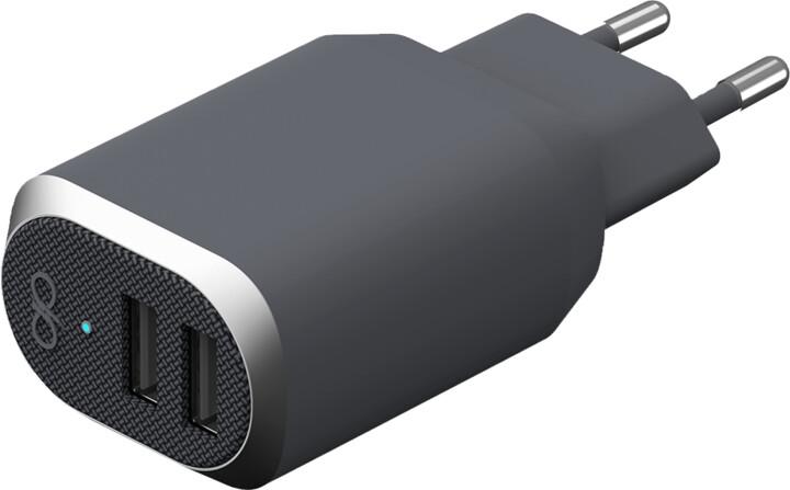 BigBen Force Power nabíječka 2xUSB, 4.8A, šedá