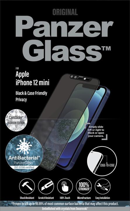 PanzerGlass ochranné sklo Edge-to-Edge pro iPhone 12mini, antibakteriální, Swarowski CamSlider, černá