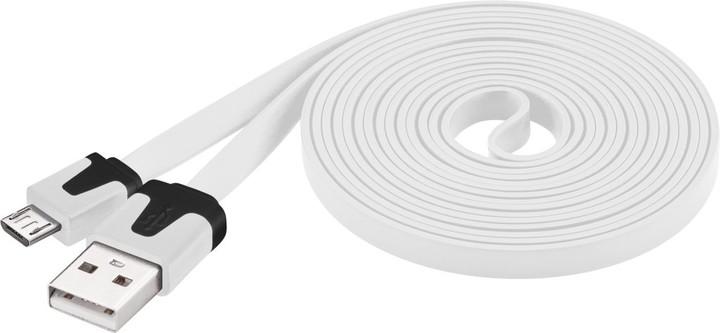 PremiumCord kabel micro USB 2.0, A-B 2m, plochý PVC kabel, bílá