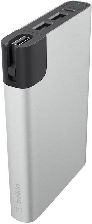 Belkin MIXIT Power RockStar 10000 Powerbank, 2xUSB + 1x Lightning & 1 Micro-USB kabel - stříbrný