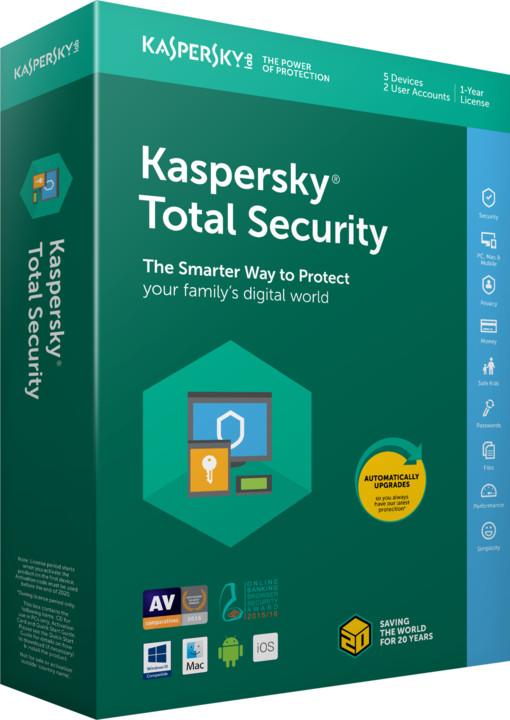 Kaspersky Total Security multi-device 2018 CZ pro 2 zařízení na 12 měsíců, obnovení licence
