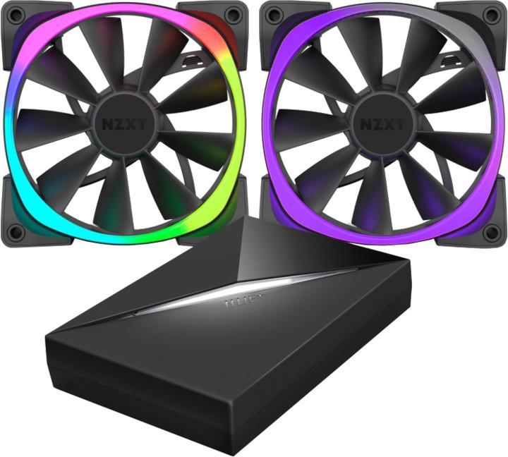 NZXT Aer RGB Series RF-AR140-C1, 2x140mm ventilátor + řídící panel HUE+