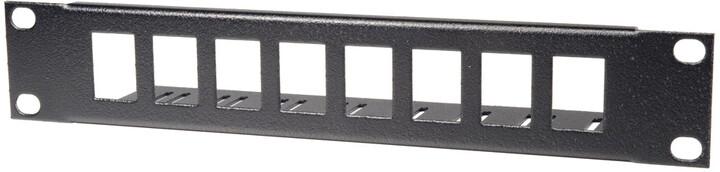 """Solarix patch panel PP-10-1U-B, 10"""", 1U, 8 portů, neosazený, přímý,s vyvazováním, černý"""