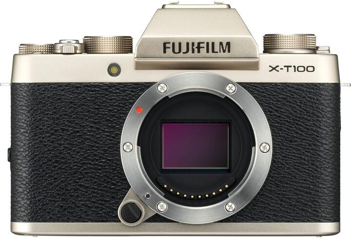Fujifilm X-T100, tělo, zlatá