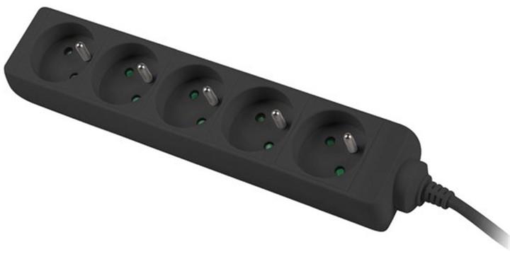 PremiumCord prodlužovací přívod 230V 5m 5 zásuvek, černá