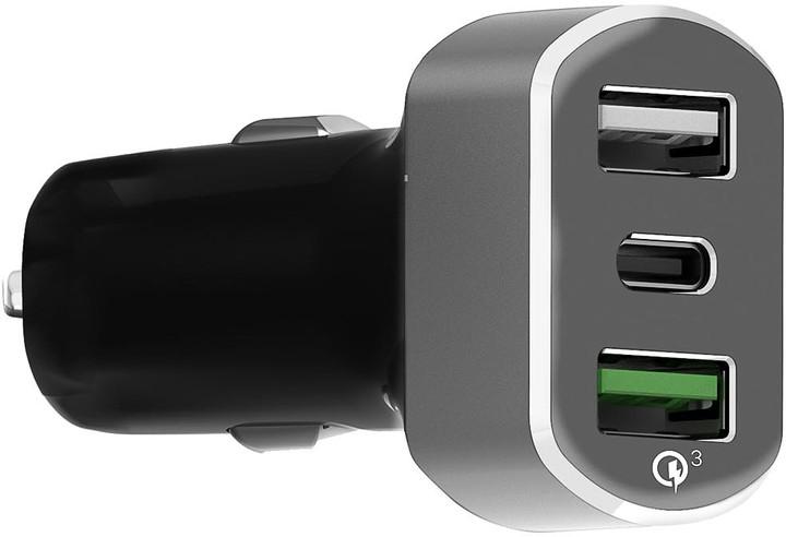 MAX autonabíječka MCC3310BG 2 x USB, 1 x USB-C (QC 3.0), černostříbrná