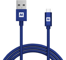 MAX MUC2100BL kabel micro USB 2.0 opletený, 1m, modrá