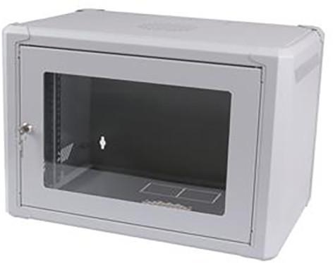 """Masterlan 19"""" nástěnný, 9U, 600x600mm, rozložený FLAT PACK, skleněné dveře, zatížení 60kg, šedá"""