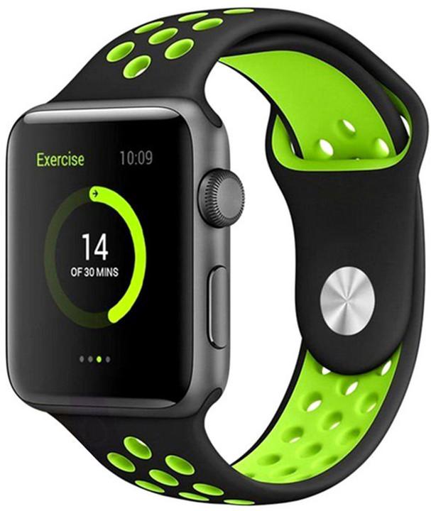 ESES sportovní řemínek 42mm pro Apple Watch, černo/zelená