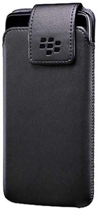 BlackBerry pouzdro kožené pro BlackBerry DTEK50, klip s otočným čepem, černá