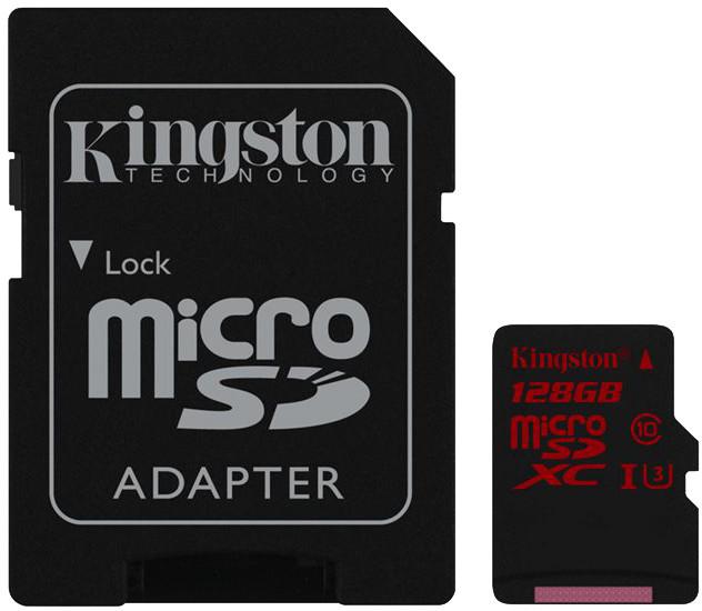 Kingston Micro SDXC 128GB 90MB/s UHS-I U3 + SD adaptér