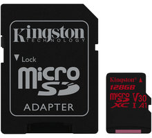 Kingston Micro SDXC Canvas React 128GB 100MB/s UHS-I U3 + SD adaptér