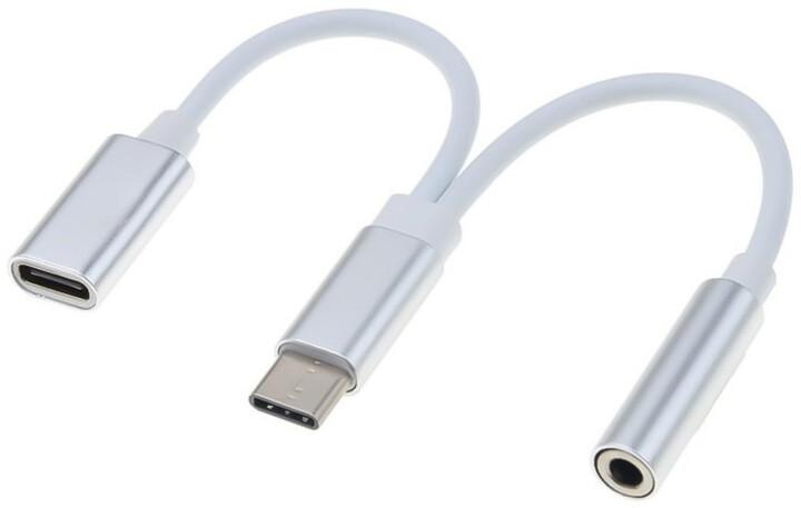 PremiumCord převodník USB-C - jack 3,5mm, M/F, 10cm, bílá + konektor USB-C pro nabíjení