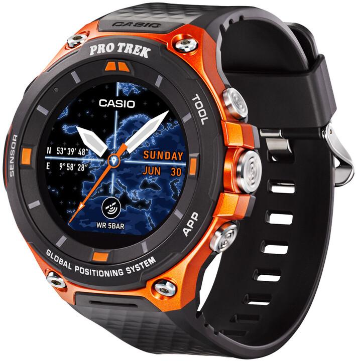 Casio Protrek wsd-f20, černo-oranžové