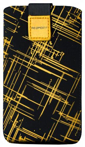 FIXED Velvet pouzdro, mikroplyš, motiv Yellow Stripes, velikost 3XL