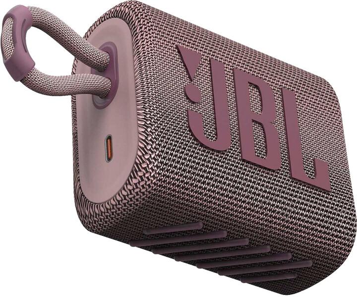 JBL GO3, růžová