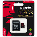 Kingston Micro SDXC Canvas React 128GB 100MB/s UHS-I + SD adaptér