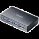 Akasa Connect 4SV, USB Hub 4x, hliník, černá  + Voucher až na 3 měsíce HBO GO jako dárek (max 1 ks na objednávku)