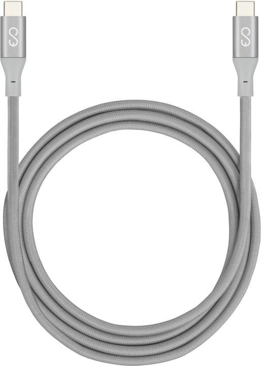 EPICO nabíjecí / datový kabel USB-C do USB-C (3.1) pletený 1,8m, stříbrný